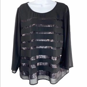 RO & DE black sequin striped blouse top M